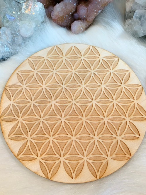 "Reverse Flower of Life Wood Grid 6"""