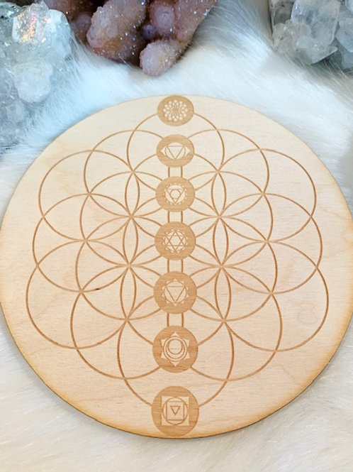 "Chakra Flower of Life WoodGrid 6"""