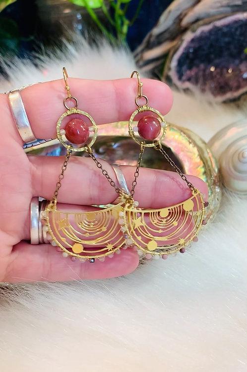 Pink Tourmaline Galaxy Earrings