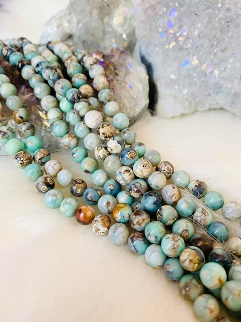 African Blue Opal Bead Strand 8mm