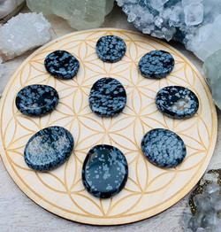 Snowflake Obsidian Worry Stone $5