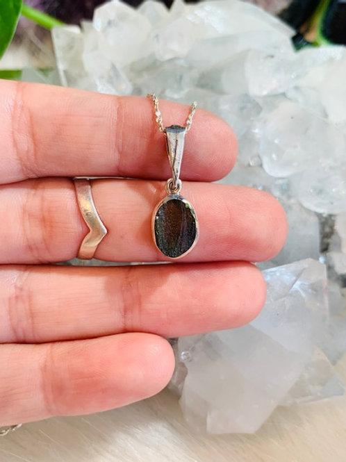 Oval Moldavite Sterling Silver Necklace