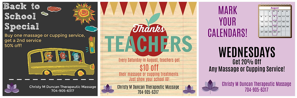 Christy M Duncan Massage Special Pricing August 2017