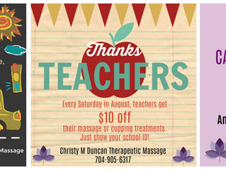 August Massage & Cupping Specials