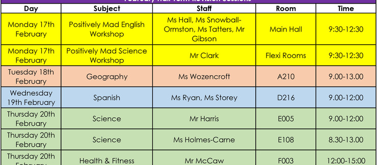 Year 11 February Half Term Revision