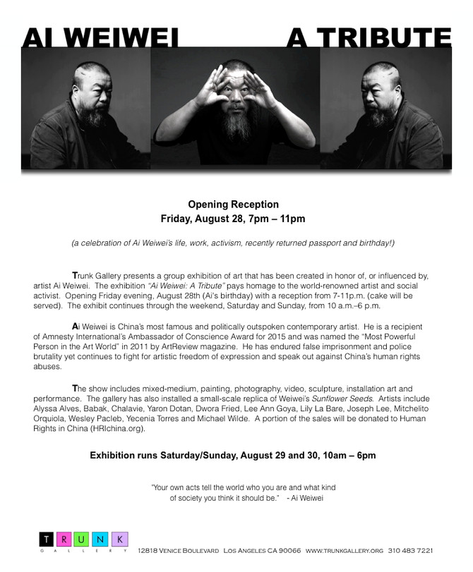 Ai Weiwei Tribute Exhibition                      at Trunk Gallery