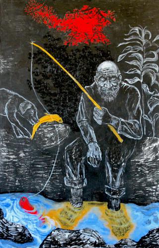 Midas Fishing, 46x30, acrylic on canvas, 2017.JPG