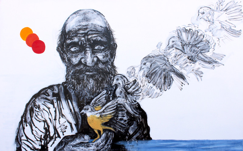 Midas and Bird, 30x38_, acrylic on canvas, 2017.JPG