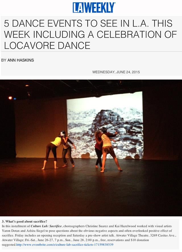 Culture Lab: Sacrifice                    Animation and Performance at the Atwater Village Theater