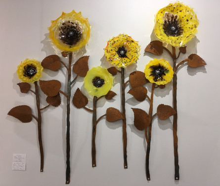 Sunflower glass and steel installation