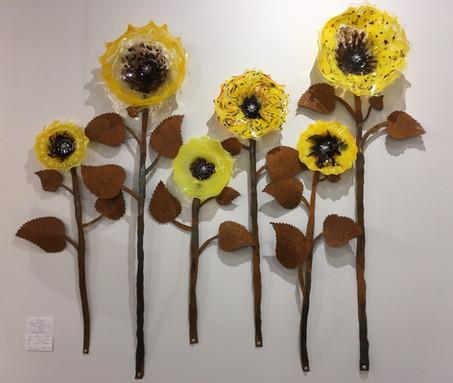 Sunflower glass and steel installation