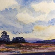 Moorland Landscape - watercolour