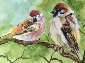 Two Kingfishers - Watercolour