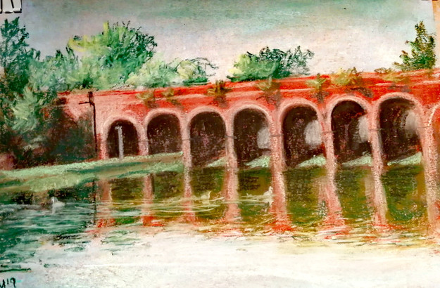 Fareham Creek - Acrylic underpins pastels
