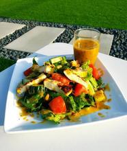 Salade Halloumi vinaigrette argousier
