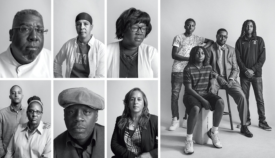 Clockwise from top left: Keith Taylor; Muneera Walker; Anita Friday; Harry Mobley Jr. with his sons Aseda, Omosesan and Akinyele Adebamgbe; Loraine Carter; Schoolly D, Crystal Blunt with her son Michael. Photography by Colin Lenton