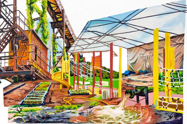 Green Space, 2020  Oil on wood panel  60.96 X 91.44 cm   Vendu/Sold