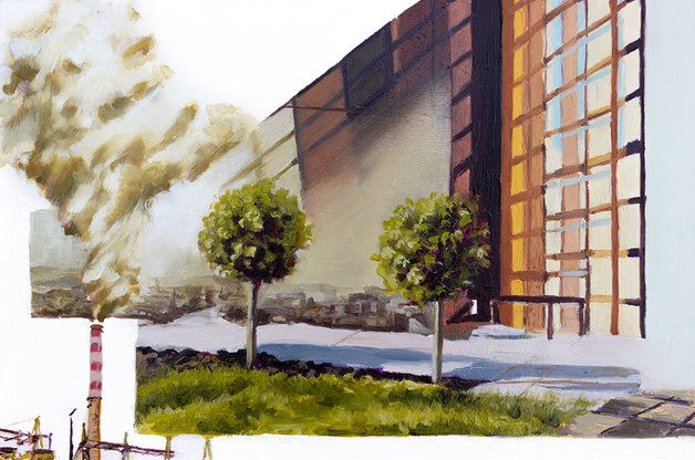 """Musings on Contemporary Exterior Spaces No.2, 16"""" x 12"""" inch, Oil of wood panel, 2020    Exhibition History:  2020 - ARTCH 3rd Edition, Dorchester Square, Montreal, QC"""