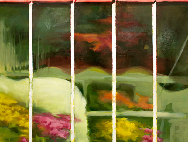 Greenhouse 36'' x 48'' inch Oil on canvas 2018  Exhibition History:  2019 - Estranged Spaces, Galerie d'art Warren G. Flowers, Dawson College, 4001 de  Maisonneuve Ouest, Montreal, QC  Press mentions:   March, 2019- Lonely Planet: An art exhibit examining environmental degradation, industrialization, and their effects on our perception of natural space, The Plant: pp. 6-7. Print.