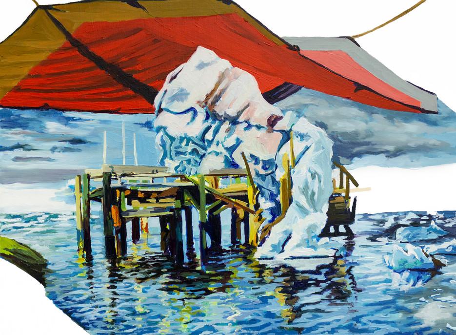 Melting, 2020 Oil on wood panel  30.48 X 40.64 cm