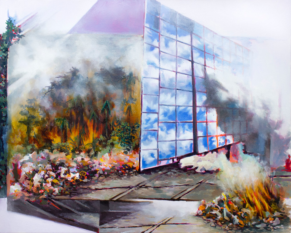Disposal, 30 X 24 Inch,  Oil on canvas 2020    Inspired by San Pedro Sula in a state of rapid urbanization that is taking place in 'pockets'. Most of the land remains tropical, agrarian and poor. Many locals will burn their garbage in small piles on rock faces or clearings. This releases toxic smoke and raises the risk of wildfires. 'Disposal' reflects on this threat to their home, as well as on the quickly overtaking allure of a modernized city leading to stark contrasts in the landscape.   Exhibition History: 2020 - Timelines, Atelier Galerie 2112, 2112 rue Amherst, Montreal, QC   Press mentions: