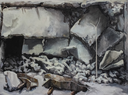 Crumbled Home,  60'' x 72'' Oil on canvas 2016