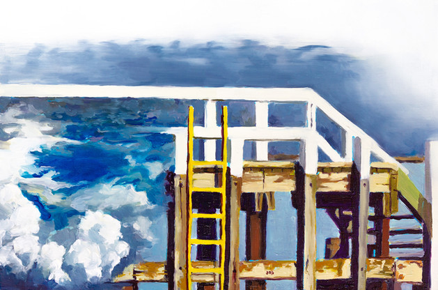 Sky Dock, Oil on wood panel, 12'' x 8'' inch, 2020  Exhibition History:  2020 - ARTCH 3rd Edition, Dorchester Square, Montreal, QC