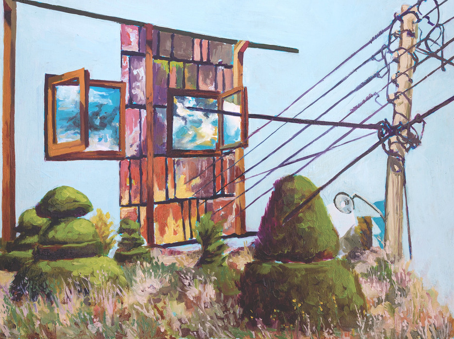 Obstructions, 2020 Oil on wood panel  30.48 X 40.64 cm