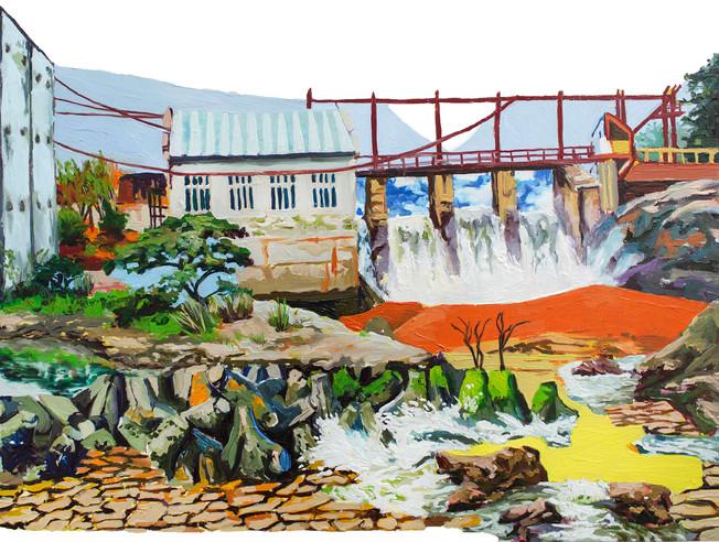 Water Dam, 2020  Oil on wood panel  30.48 X 40.64 cm