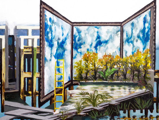Musings on Contemporary Exterior Spaces No.2, Oil on wood panel, 16'' x 12'' inch, 2020  Exhibition History:  2020 - ARTCH 3rd Edition, Dorchester Square, Montreal, QC