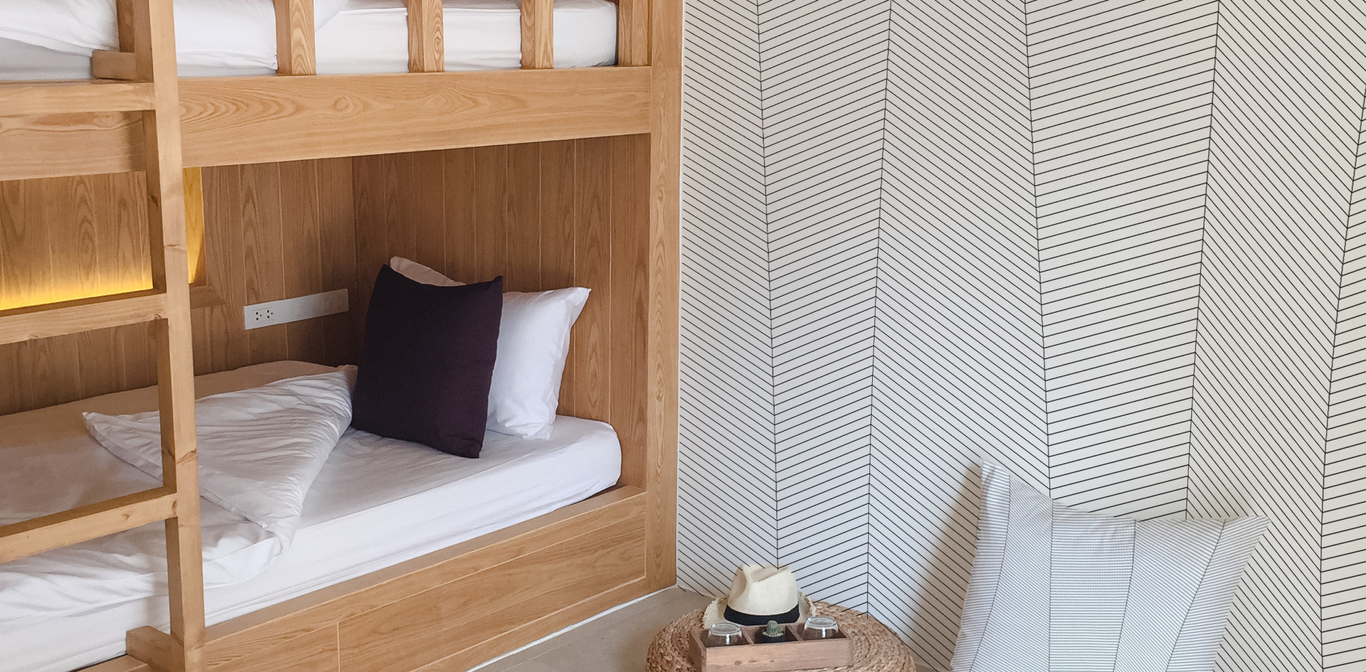 Hostel with Strata wallcovering and Cushion