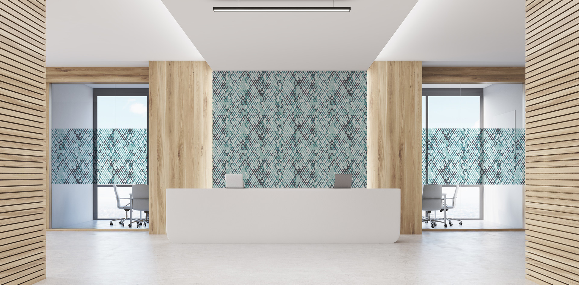 Quartz - Jade on wallcovering and optically clear glass film