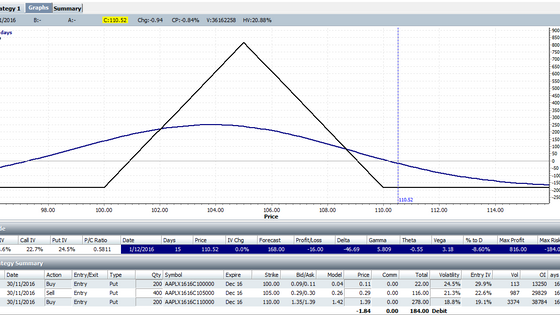 AAPL directional butterfly