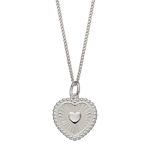 Sunray Texture Heart Necklace