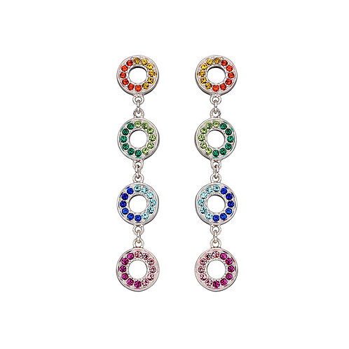 Fiorelli Rainbow Crystal Open Circle Earrings