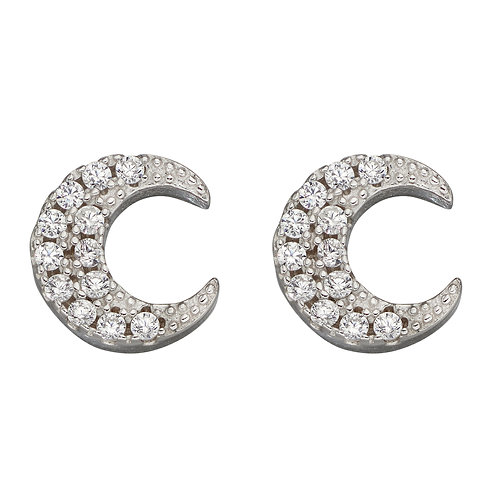 Crescent Moon Stud Earrings with Cubic Zirconia