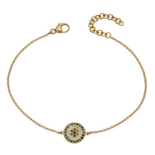 9ct Yellow Gold Evil Eye Bracelet with Topaz