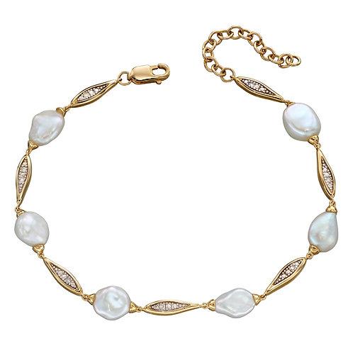 9ct Yellow Gold Keshi Pearl and Diamond Station Bracelet