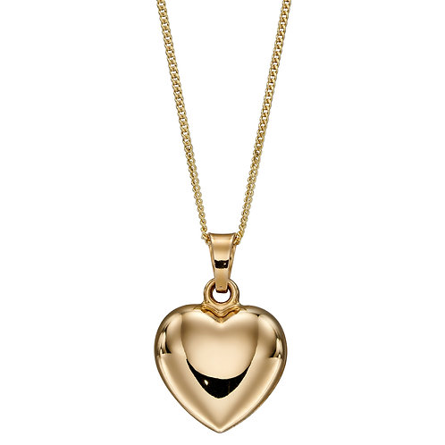 9ct Yellow Gold Puffed Heart Necklace