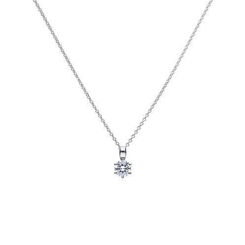 Claw Set 1ct Zirconia Solitaire Necklace
