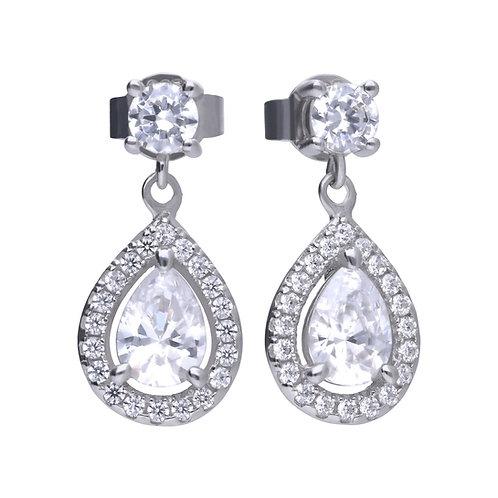 Zirconia Teardrop Cluster Earrings