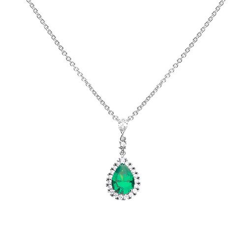 Green Zirconia Teardrop Necklace with Pave Surround