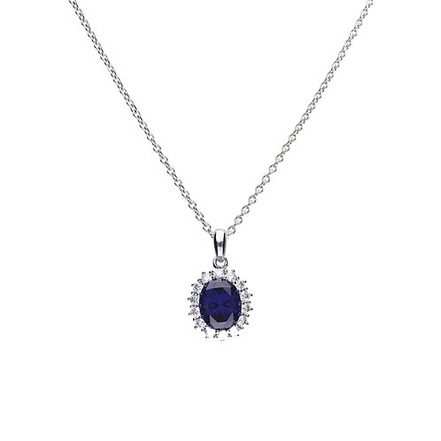 Sapphire Blue Zirconia Oval Solitaire Necklace