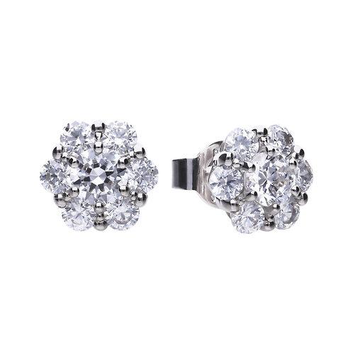 Floral Shaped Zirconia Stud Earrings
