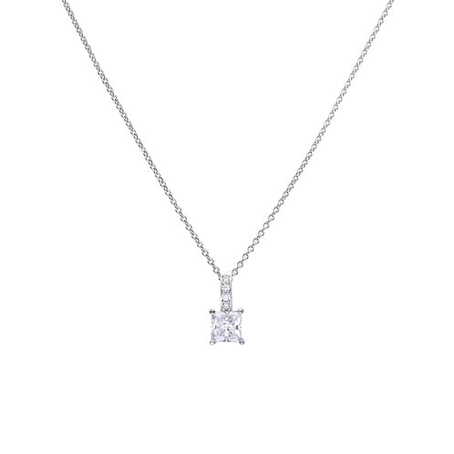 Princess Cut Zirconia Necklace with Pave Set Bale