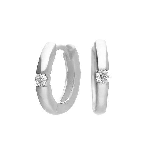 Hoop Earrings with Single Zirconia Stone