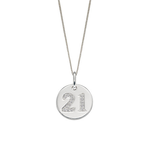 Sterling Silver 21 Disc Necklace or Charm with Cubic Zirconia