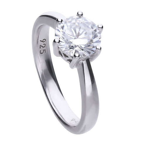 Claw Set 2ct Zirconia Solitaire Ring