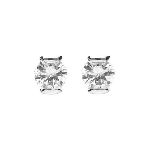 Semi Bezel Set Zirconia Stud Earrings