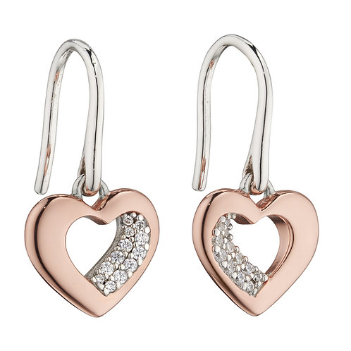 Fiorelli Rose Gold Plated Sculpted Heart Earrings with Cubic Zirconia